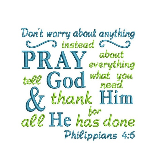 Don't Worry Pray Applique Machine Embroidery Digital