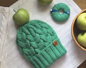 Ready! Green wool beanie hat by Knity.me (green apple)