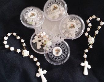 Communion Favors, Baptism Favor, 12 Flower Rosaries, Favor Boxes, Christening Favors, Rosaries w Favor Box, Rosary Favor, Quinceañeras Favor