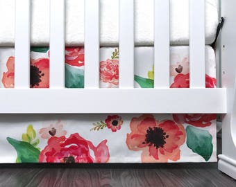 "Crib skirt. 3 sided 7"" 10"" 13"" 16"" drop crib skirt. Coral Floral watercolor flowers roses pink blush coral peach spring. Baby girl"