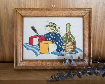 Vintage Framed Wine and Cheese Embroidery wall decor