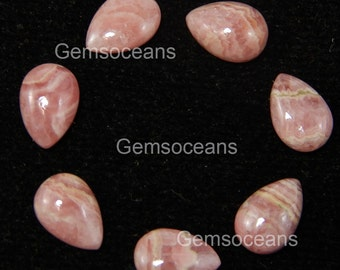 10 Pieces Lot Natural Rhodochrosite Pear Shape Loose Gemstone Cabochon