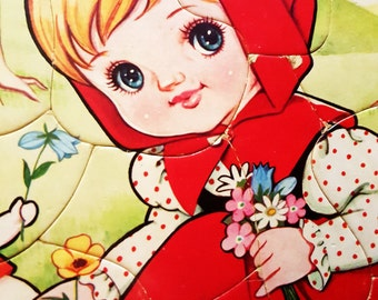 Adorable vintage retro kitsch Harumi Little Red Riding Hood puzzle 60s 70s
