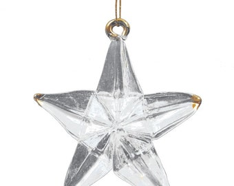 Glass Gold Tipped Star Christmas Decoration