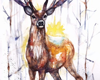Original Watercolour Painting Stag Print by Artist Be Coventry Wildlife Animal Art