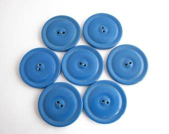 7 royal blue buttons, vintage flat casein buttons, antique 1940s buttons