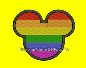 Gay Pride Rainbow Mickey Mouse Embroidery Design - 5 Sizes - INSTANT DOWNLOAD