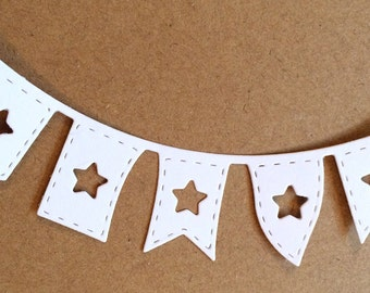 Bunting die cuts, flag die cut, star die cut, party die cuts, bunting scrapbook embellishments, card making dies