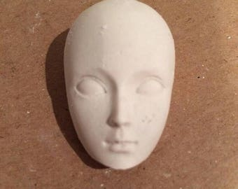 5 plaster half heads , plaster face , mixed media face, semi heads, craft supplies, craft heads, craft faces, semi head