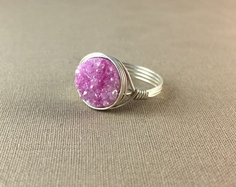 Pink Druzy Ring // geode ring, delicate ring, gemstone ring, drusy ring, jewelry under 25, pink ring, circle ring , silver ring, gold ring