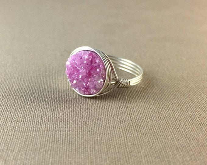 Pink Druzy Ring // geode ring, delicate ring, gemstone ring, drusy ring, jewelry under 25, pink ring, circle ring , silver ring, gold ring