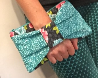 Teal Floral Bow Clutch Purse