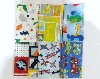 Boys Lightweight Cotton Fabric Scraps/ Boys Lightweight Cotton Fabric Remnants/ Quilting Fabric Scraps for Boys
