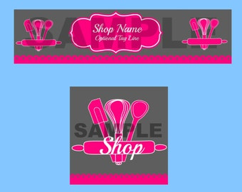 Bakery Shop Banner And Avatar Set, Pre-Made Banner, Shop Banner, Whisk, Spoon, Rolling Pin, Spatula, Pink, Gray, Grey, YOU CHOOSE COLORS