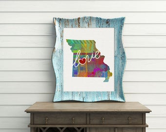 Missouri Love - MO - A Watercolor Style Home State Wall Decor Art Print for Moving - College - Shower Present - Wedding Gift - Housewarming