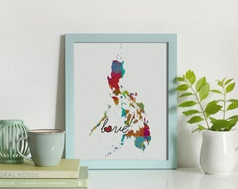 Philippines Love - Colorful Watercolor Style Wall Art Print & Home Country Map Artwork - Adoption, Moving, Engagement, Wedding Gift and More