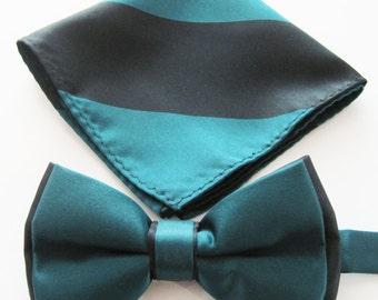 Mens Bow Tie Extra Fancy Teal Green Over Black Two colored Fabric Adjustable Bow Tie With Pocket Square.
