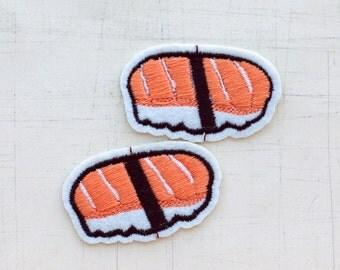 2.8 x 4.7cm, Set of 2, Salmon Sushi Iron On Patch (P-446)