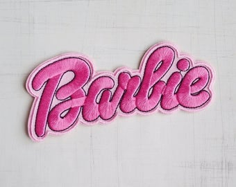 10 x 5.5cm, Barbie Pink Doll Iron On Patch (P-077)