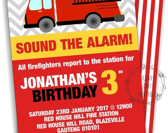 Fire Truck Birthday Invitation, Fire engine Invitation, Fireman Party, Fire Engine Party Decor, Fire Engine Party, digital, instant download