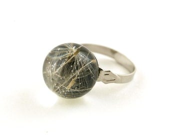 Dried dandelion seeds eco resin sphere adjustable ring