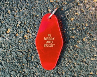 Be Merry And Bright key chain vintage hotel key tag Free Shipping Christmas holidays