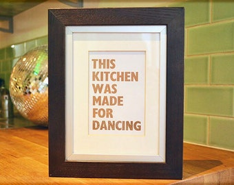 Letterpress Kitchen Dancing Print