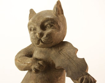 Cat & the Fiddle Takaan, wood folk carving used to produce papier-mache art