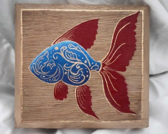 Blue and Red goldfish