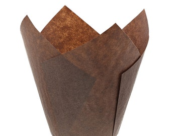 Brown Tulip for Standard Cupcakes Baking Liners Muffin Cup