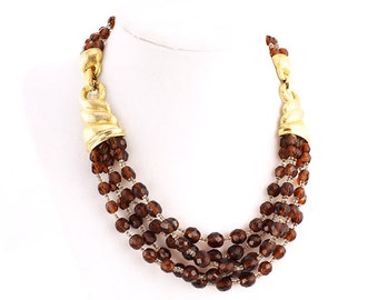 Vintage Boucher Necklace With Topaz Beads and Hidden Clasp