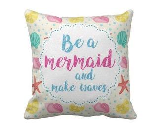 Mermaid Pillow, Children's Cushion   18x18 inch pillow   Baby Gift, Nursery Decoration Mermaid, Birthday Gift, Decoration mermaid pillow