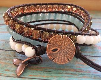 Triple Wrap Bracelet, Beaded Wrap Bracelet, Leather Wrap Bracelet, Whale's Tale Charm, Sand Dollar Button, Beach Jewelry, Beach Bracelet