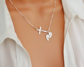 Sideways Cross necklaces.Personalised .925 sterling silver .Mother gift.New baby gift . Christian jewellery. Gift for her