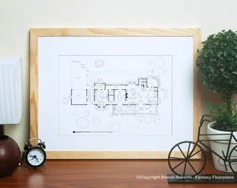 Family Ties | Elyse & Steven Keaton Home Floor Plan | Blackline Poster | Gift for Her | Gift for Him | Wall Art | Today Show Featured Artist