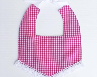 Baby Girl Bib | Pink and White Check Bib | Boho Bib