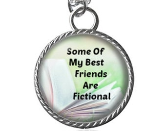 Best Friends Necklace, Book Lovers, Fictional Image Pendant Key Chain Handmade
