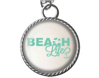 Beach Life Necklace, Ocean, Scenic, Summer Pendant Necklace or Key Chain