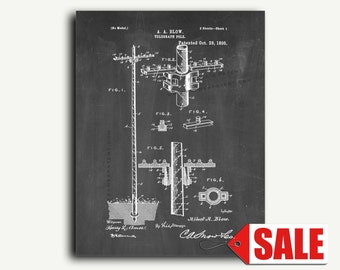 Patent Art - Telegraph Pole Patent Wall Art Print