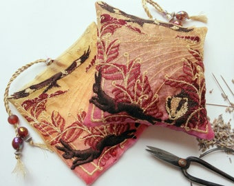 CHILTERN, Red Kite, Embroidered  Lavender Bag, Hare, Badger, Red, Autumn, Perfect gift, Hostess gift, Birthday, Christmas