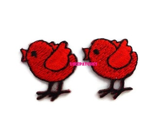 Set 2 pcs. - Super Cute Mini Baby Lovely Chick Red Color - Chicken New Sew / Iron On Patch Embroidered Applique Size 2.2cm.x2.4cm.