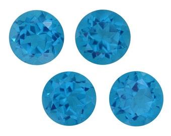 Caribbean Blue Quartz Triplet Set of 4 Loose Gemstones Round Cut 1A Quality 9mm TGW 12.50 cts.