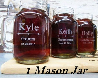 Groomsmen Gifts, Bridesmaids' Gift, Wedding Mason Jar with Handle, Groomsmen Gift Idea, Rustic Wedding, Country Wedding. Wedding Party Favor