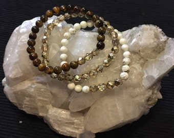 Soothing and Strenghtening Holiday Bling Bracelet set, Reiki Infused