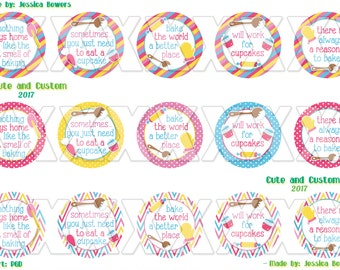 Baker- bottle cap images- 1 inch circles- instant download- digital- mommys helper- little cook- bake the world a better place- bci