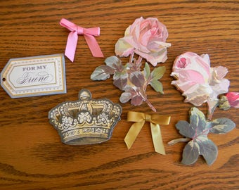 A (6 piece Set) of Anna Griffin Ephemera for Crafting, Card Making and Scrapbooking  (Kit B-36)