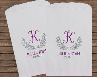Monogram, Laurel, Wreath, Wedding Candy Bags, Wedding Favors, Candy Bags, Candy Bar Bags, Rustic Wedding, Custom Wedding Favors, Kraft 205
