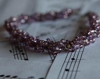 June Swarovski Spiral Birthstone Bracelet (Light Amethyst)