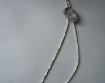 1950s-60s White/Silver with Cool Polished Stone Bolo Tie