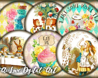 Instant download, digital collage sheet circle 2.5 inch, Alice in Wonderland, digital printable images round magnets making, scrapbooking